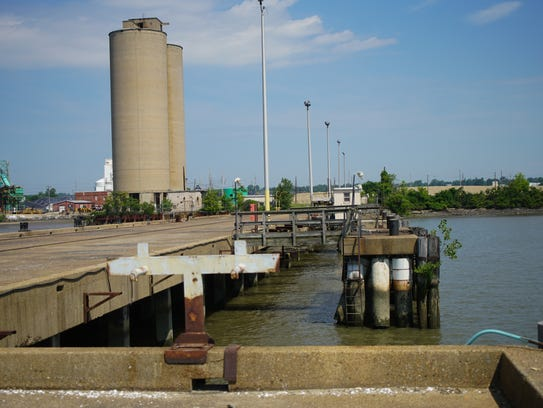 The former docks on the Delaware River are vacant since
