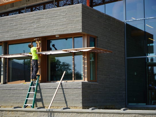 Construction of the Route 9 Library is coming to completion.
