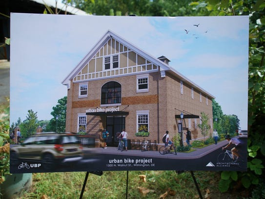 Renderings of the planned urban bike project facility.