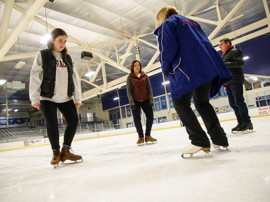 News Journal staffers Meredith Newman and Sarika Jagtiani got a skating lesson from pros at the lauded program at the University of Delaware. Skating coaches and Olympians Suzy Semanick Schurman and Scott Gregory showed the novices the basics.