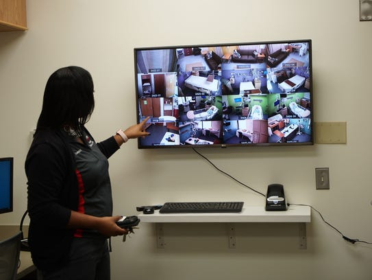 Tempestt Magnum shows the multi camera screens that capture exercises in the simulation lab at Nemours/ A.I. duPont Hospital for Children.