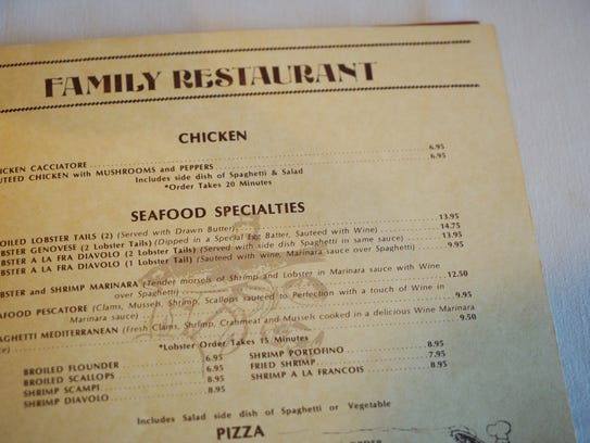 An old menu from La Casa Pasta, which is celebrating 40 years in business this month.