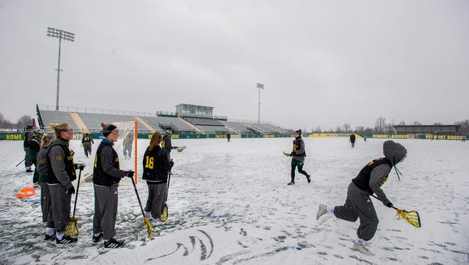 The University of Vermont women's lacrosse team practices at Virtue Field in Burlington on Tuesday, February 1, 2017.