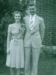 "Sgt. Robert Eugene ""Gene"" Shultz, of Middlebrook, with Janet Thomson, of Staunton, on the day they were married Nov. 11, 1943. The couple were married for only two days before Shultz was shipped overseas to fight in WWII. He was killed on his first mission on Feb. 21, 1944 when he was 22 years old. They are both buried at St. John's Reformed Church cemetery in Middlebrook."