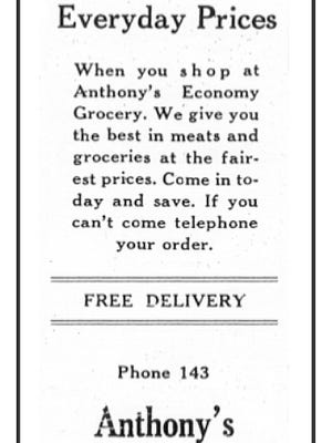 An advertisement for Anthony's Grocery Store in 1941.