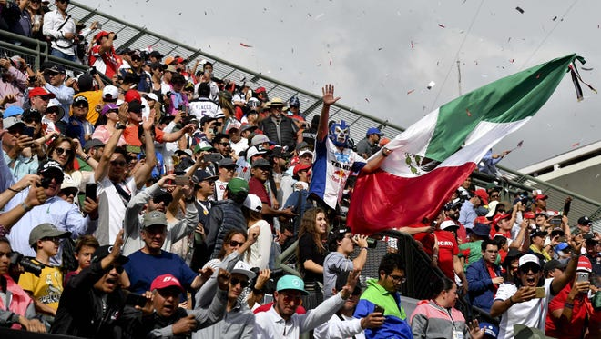 Fans cheer during the Mexican Grand Prix, which ended with confusing results and baffling rulings.