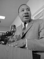 Martin Luther King Jr. speaks to students at the University of Wisconsin-Milwaukee on Nov. 23, 1965. Earlier that day, he spoke to students at the University of Wisconsin-Madison.