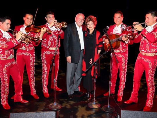José Hernàndez, a fifth-generation mariachi musician, will bring ensembles including his legendary Mariachi Sol de Mexico (shown here with Joan Dale and RD Hubbard, who are sponsoring the performance) to the McCallum Theatre Sunday.