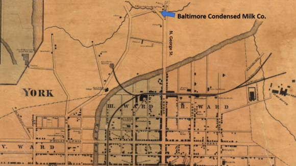 The Baltimore Condensed Milk Company was off of N. George Street near Willis Run (south of today's Parkway Boulevard) - between 3rd Base Food & Beer and P& H Distributors. (YCHC).