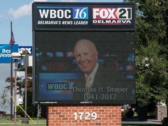 A sign outside of WBOC's office memorializing the station's