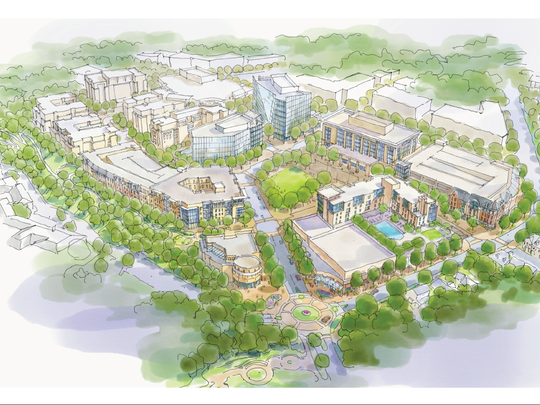 In its 246-page April 2017 proposal to redevelop County Square near downtown Greenville, South Carolina, Virginia Beach-based Armada Hoffler and Greenville-based CitiSculpt proposed ample green space, a large park-like commons area, plus the county offices, a hotel, entertainment, retail and commercial office space.