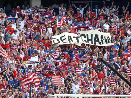 Fans of the USA men's soccer team look on during the second half of their international friendly soccer match against Turkey at Red Bull Arena on June 1.