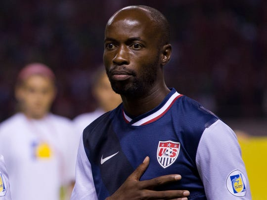 United States' DaMarcus Beasley prior to a 2014 World Cup qualifying soccer match against Costa Rica in San Jose, Costa Rica, Friday, Sept. 6, 2013.