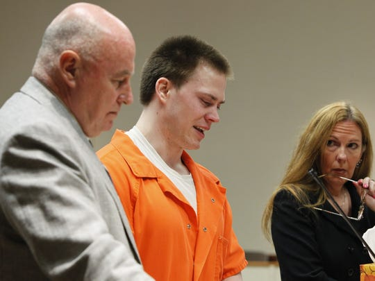 Clayton Whittemore, center, makes a brief statement apologizing to the Kogut family before his sentencing at the Hall of Justice in Rochester Tuesday, Aug. 5, 2014.  Whittemore was given the maximum of 25 years to life for the murder of his girlfriend, SUNY Brockport student Alexandra Kogut.  Standing with Whittemore is his defense attorney Mark Curley, left, and District Attorney Sandra Doorley.