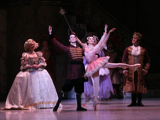"""Mark Krieger and Natalia Ashikhima and Louisville Ballet company dancers and cast of """"The Sleeping Beauty."""""""