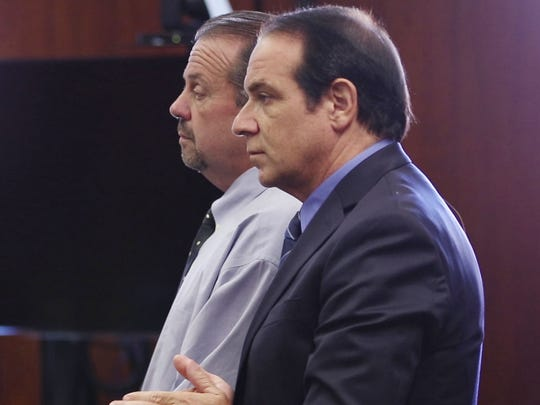 John Lehmann, left appears in court with his attorney Michael Chazen. Former Holbrook Little League officials Anthony Del Vecchio and John Lehmann appear in Ocean County Superior Court during an early disposition hearing after being charged with second-degree theft and conspiracy to commit theft.  