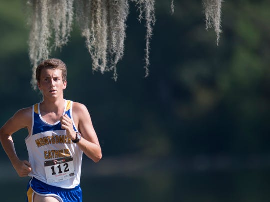 Montgomery Catholic's Grant Walker runs during the Central Alabama Cross Country Invitational on Saturday, Sept. 24, 2016, in Montgomery, Ala.