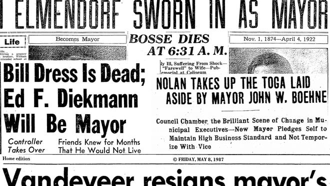 Collage of Evansville Press and Evansville Courier headlines that deal with Evansville mayors who died or resigned while in office