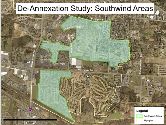 Map showing area of Southwind considered for deannexation