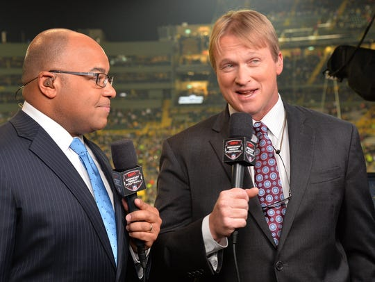 Mike Tirico, left, and Jon Gruden,seen during a 2013