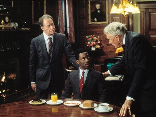 """Flanking Eddie Murphy as a rags-to-riches character in """"Trading Places"""" are Don Ameche (left) and Ralph Bellamy as greedy brothers trying to make a shady killing on Wall Street."""