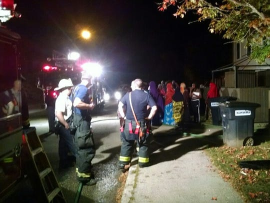 Firefighters respond to a blaze at the Franklin Square