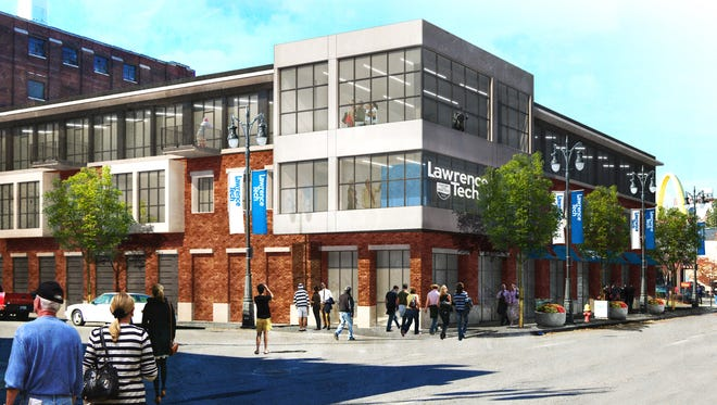 The Detroit Center for Design and Technology, shown here in a rendering, will be dedicated on Friday in Midtown Detroit.