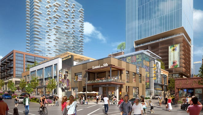 A rendering of the $430 million mixed-use development called Fifth + Broadway as seen from Lower Broadway