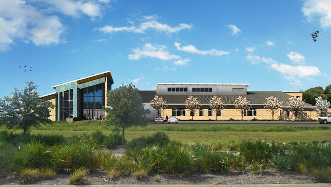 A rendering of the Gulf Coast Marine Fisheries Hatchery & Enhancement Center at Bruce Beach.