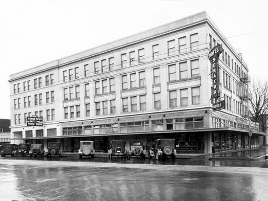 Senator Hotel in Salem at 515 Court Street, where the Marion County building now stands. On the left side of this photo there's a sign for the Stage Depot Food Shop.  Submitted by Martin Goebel, Fine Arts & Antiques, (503) 315-8347.