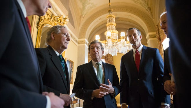 Sen. Roy Blunt, R-Mo., and other GOP Senate leaders confer on Capitol Hill.