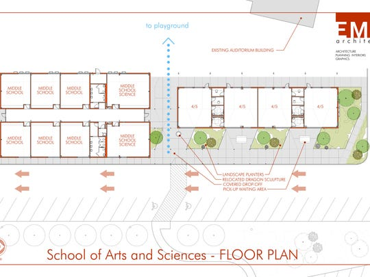 The floor plan of the new $3 million School of Arts and Sciences facility.