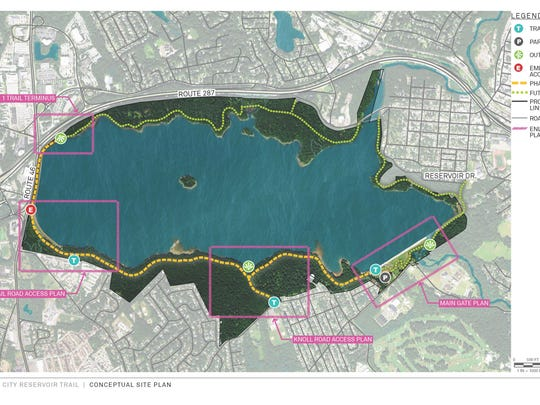 A rendering of a proposed recreation trail for the Jersey City Reservoir in Parsippany and Boonton.