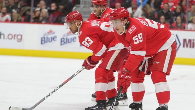(From front) Red Wings Tyler Bertuzzi, Trevor Daley and Andreas Athanasiou line up against the Stars during the second period on Tuesday, Jan. 16, 2018, at Little Caesars Arena.
