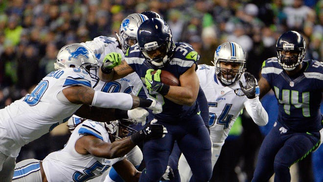 Thomas Rawls rushed for a Seahawks playoff record 161 yards against the Lions.