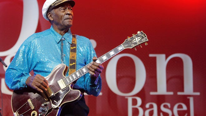 In this Nov. 13, 2007 file photo, legendary U.S. musician Chuck Berry performs on stage at the Avo Session in Basel, Switzerland.