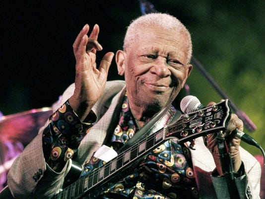 FILE-In this Aug. 22, 2012 photograph, the  then 86-year-old B.B. King thrills a crowd of several hundred people at the annual B.B. King Homecoming, a free concert on the grounds of an old cotton gin where he worked as a teenager many years ago, in Indianola, Miss. Festival organizers said this year's festival was to have been a tribute to the then living King, who died May 14, 2015. Now they are calling it  a memorial celebration.