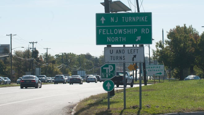 The intersection at Route 73 and Fellowship Road in Mount Laurel where a major road construction project is planned to start in five years.