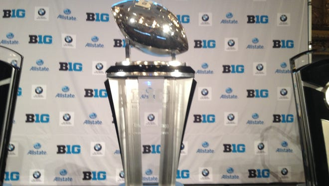 The 2014 Big Ten football championship trophy at the conference's annual media day