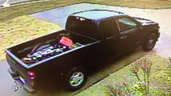 A home's surveillance system captured the burglar's Chevrolet Colorado pickup pull up the driveway May 6.