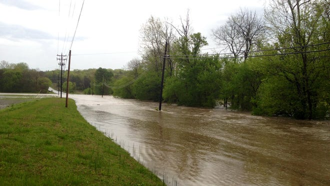 Parts of Southall Road are underwater in Franklin on Monday.