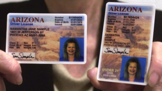 Since 2001, Arizona drivers' licenses have a picture of the Grand Canyon in the background and a vertical format for drivers younger than 21.