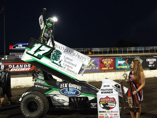 Bryan Clauson after a race at Badlands Speedway. Clauson died late Sunday from injuries suffered during a race in Kansas on Saturday.