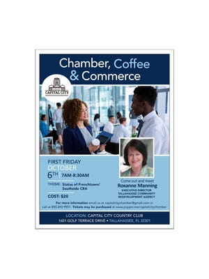 """The Capital City Chamber of Commerce is hosting its """"Coffee and Commerce"""" event Friday and features talks surrounding the future of the Frenchtown/Southside Community Redevelopment Agency."""