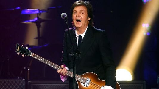 Paul McCartney performs during a concert at the Barclays Center, in New York.