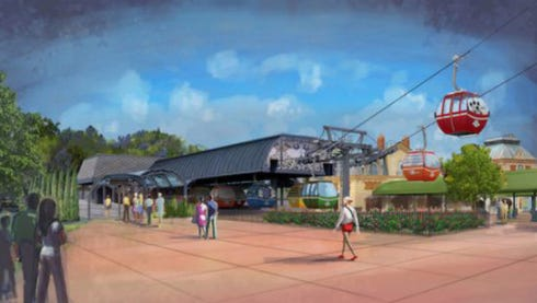 A rendering of the Disney Skyliner station at International Gateway at Epcot.