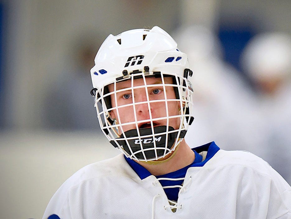 Sartell's Matthew Moran warms up before the Nov. 1 game against River Lakes at Bernick's Arena in Sartell.