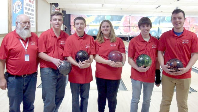 The Sturgeon Bay bowling team, from left: coach Tim Jutila, Dillon Kroll, Braden LeMieux, Hailey Blish, Jason Claybaugh and Jager Brusky.