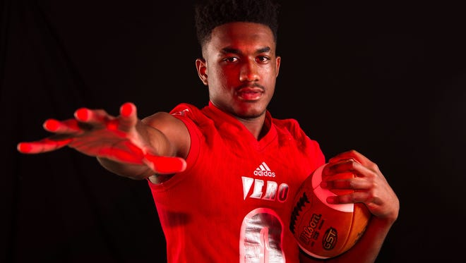 Javien Cuff, wide receiver on the Vero Beach High School football team, is photographed Tuesday, April 3, 2018, at TCPalm in Stuart.