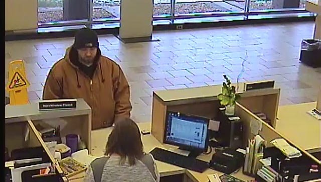 The suspect in a bank robbery is pictured on surveillance camera at the Comerica Bank in Roseville.